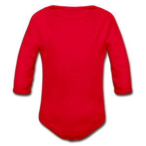 Organic Long Sleeve Baby Onesie - red