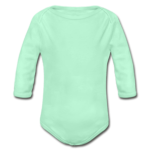 Organic Long Sleeve Baby Onesie - light mint
