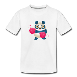 Cheer Panda Toddler Premium T-Shirt - white