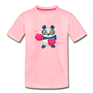 Cheer Panda Toddler Premium T-Shirt - pink