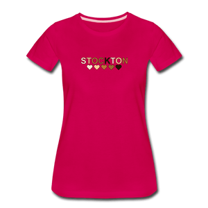 Stockton Hearts Women's Premium T-Shirt - dark pink