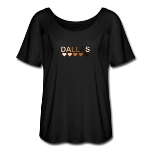 Dallas Hearts Women's Flowy T-Shirt - black