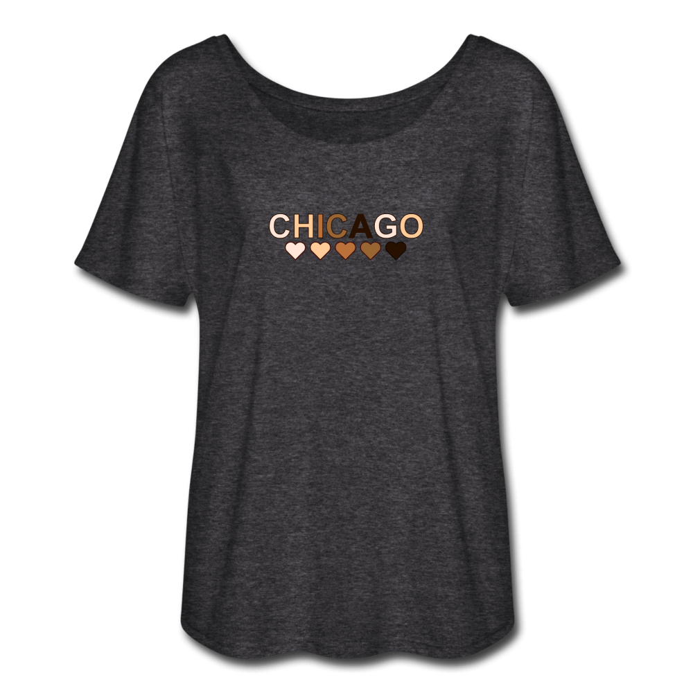 Chicago Hearts Women's Flowy T-Shirt - heather gray