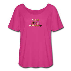 SJ Hearts Women's Flowy T-Shirt - dark pink