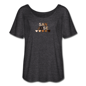 SJ Hearts Women's Flowy T-Shirt - charcoal gray
