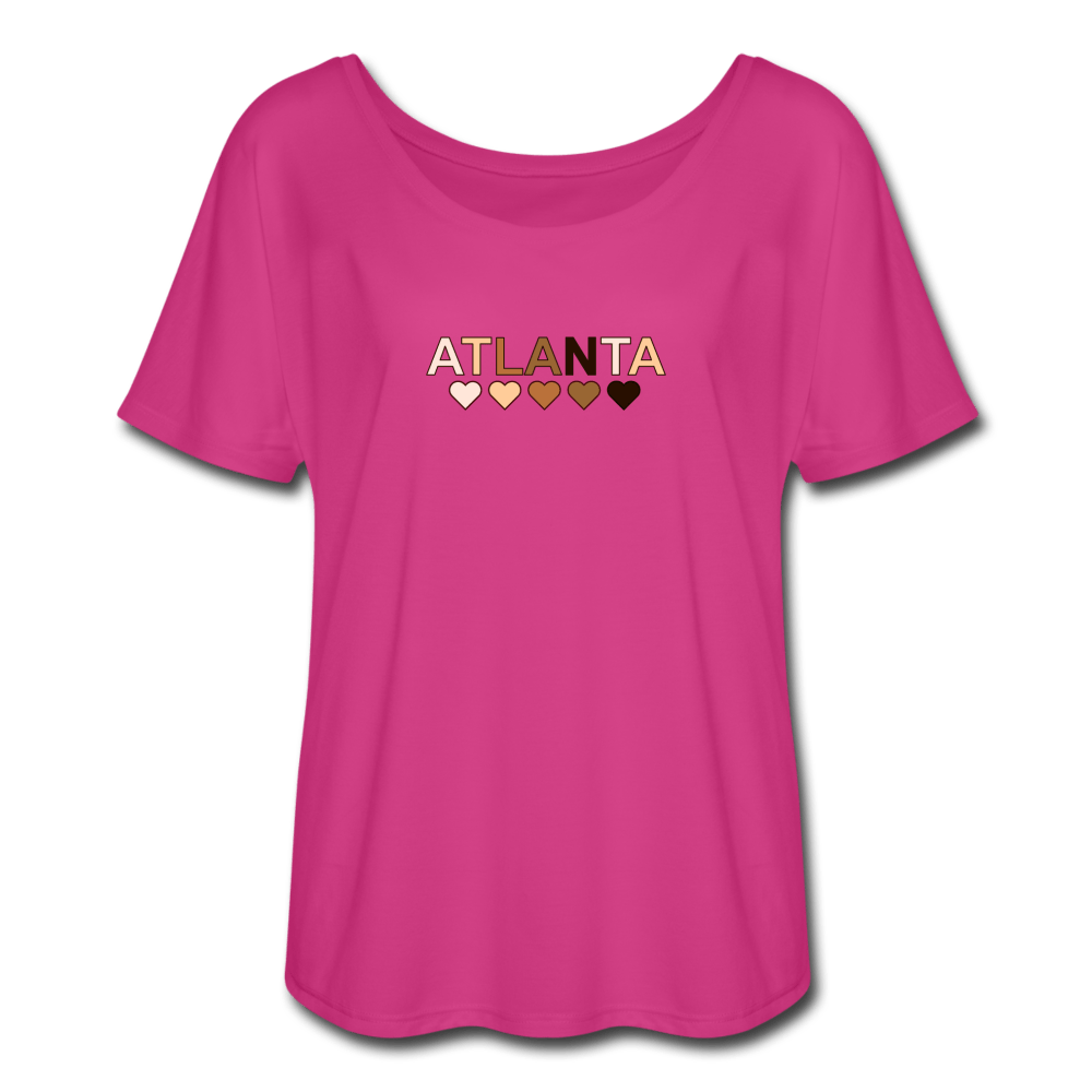Atl Hearts Women's Flowy T-Shirt - dark pink