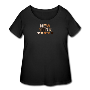 NYC Hearts Women's Curvy T-Shirt - black