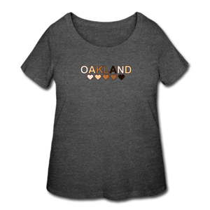 Oakland Hearts Women's Curvy T-Shirt - deep heather