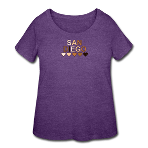 SD Hearts Women's Curvy T-Shirt - heather purple
