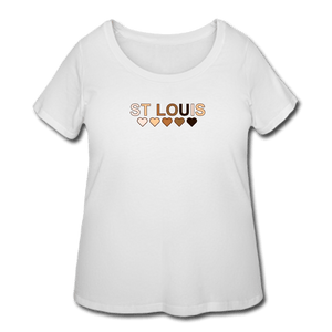 St Louis Hearts Women's Curvy T-Shirt - white