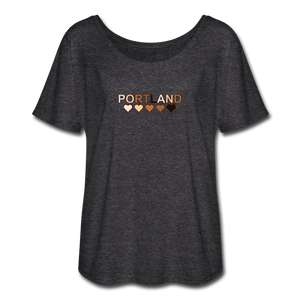 Portland Hearts Women's Flowy T-Shirt - charcoal gray