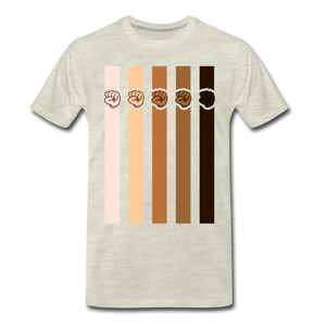 U Fist Stripes Men's Premium T-Shirt - heather oatmeal