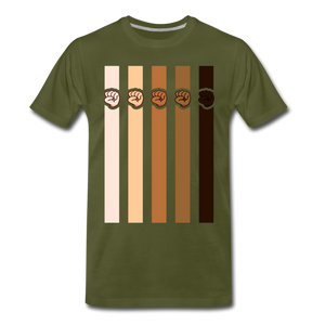 U Fist Stripes Men's Premium T-Shirt - olive green