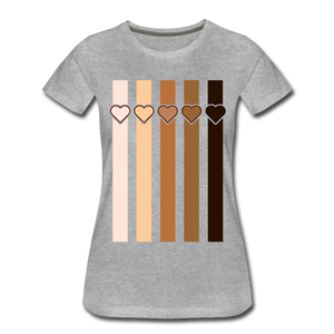 U Hearts Stripes Women's Premium T-Shirt - heather gray