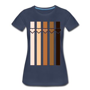 U Hearts Stripes Women's Premium T-Shirt - navy