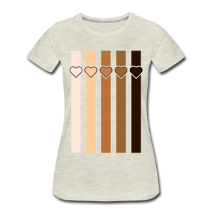 U Hearts Stripes Women's Premium T-Shirt - heather oatmeal
