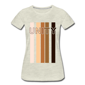 Unity Stripes Women's Premium T-Shirt - heather oatmeal