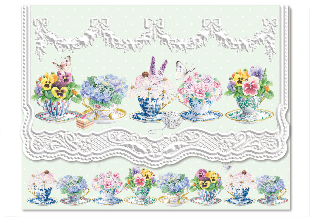 Pansy Teacups Boxed Notecards