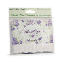 Load image into Gallery viewer, Lilacs & Teal Stripe Thank You Card Set