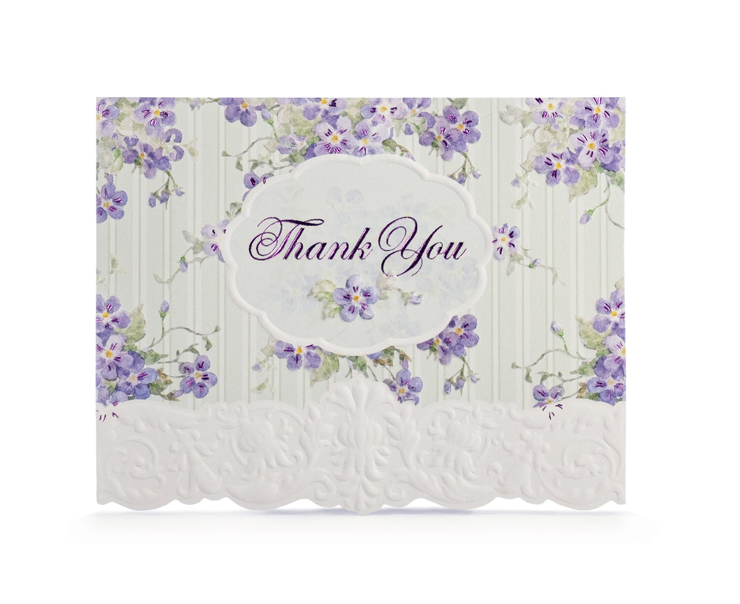 Lilacs & Teal Stripe Thank You Card Set