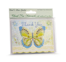 Load image into Gallery viewer, Blue & Green Butterfly Thank You Card Set