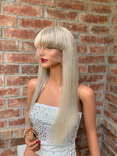 Load image into Gallery viewer, Natural blonde BANGS BRAZILIAN human hair FULL LACE WIG