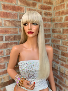 Natural blonde BANGS BRAZILIAN human hair FULL LACE WIG