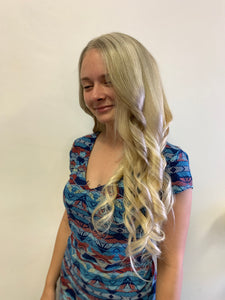 Light ash blonde HUMAN HAIR full lace wig 22""