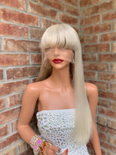 Load image into Gallery viewer, Full lace Wig, Balayage blonde with custom color, Loose curl hair, Virgin hair, 18 inches long