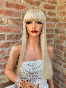 Full lace Wig, Balayage blonde with custom color, Loose curl hair, Virgin hair, 18 inches long