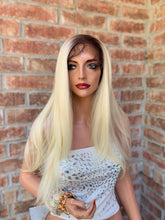 Load image into Gallery viewer, OMBRE' ASH BLONDE Natural Balayage blonde, Lace front wig 22 Inches