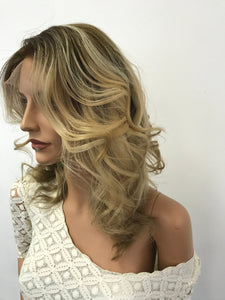 Full lace Wig, Balayage blonde with root, Loose Curl hair, Made with Virgin hair
