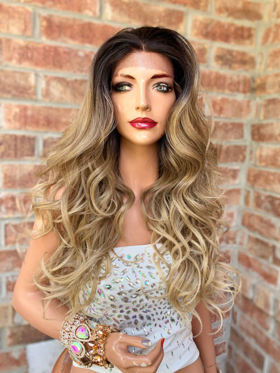 BLONDE BALAYAGE ROOTED, Lace 13x4 Frontal Wig,  Loosely Curled Hair, 22 Inches Long