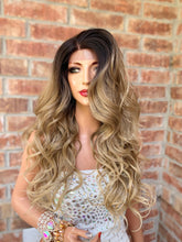 Load image into Gallery viewer, BLONDE BALAYAGE ROOTED, Lace 13x4 Frontal Wig,  Loosely Curled Hair, 22 Inches Long