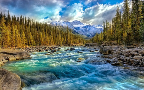 InstaFire presents river flowing through mountains