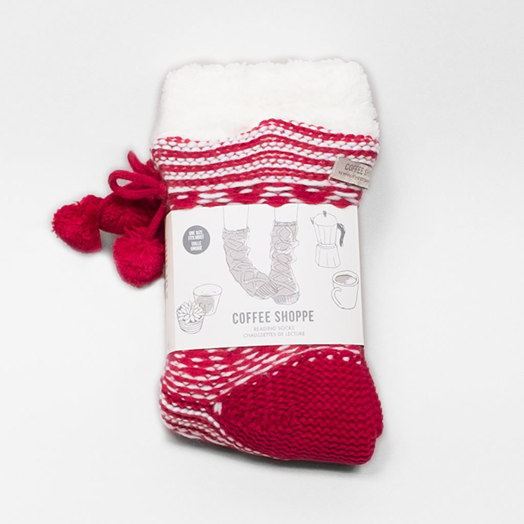 Poet's Pattern Lounge Sock - Deep Red