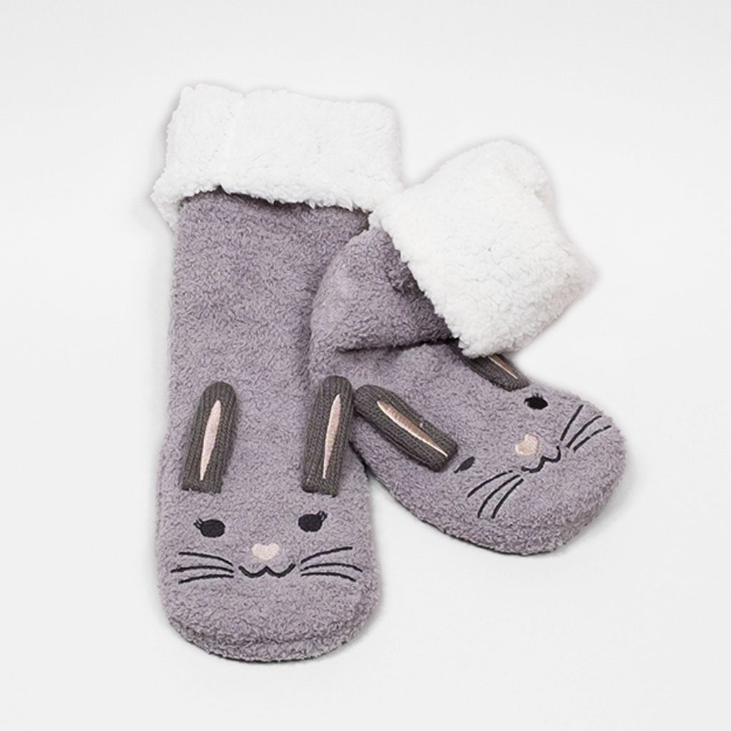 Animal Plush Low Cut Socks - Bunny (Wild Dove)