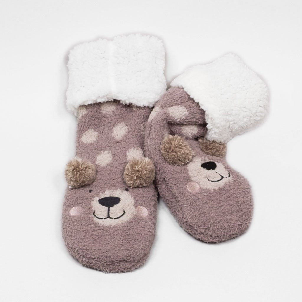 Animal Plush Low Cut Socks - Bear (Oatmeal)