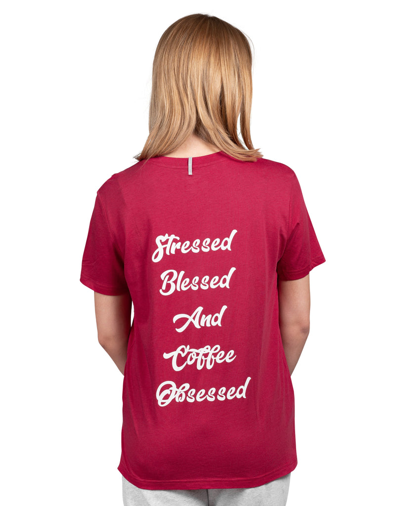 Current Mood Boyfriend T-Shirt - Stressed Blessed And Coffee Obsessed