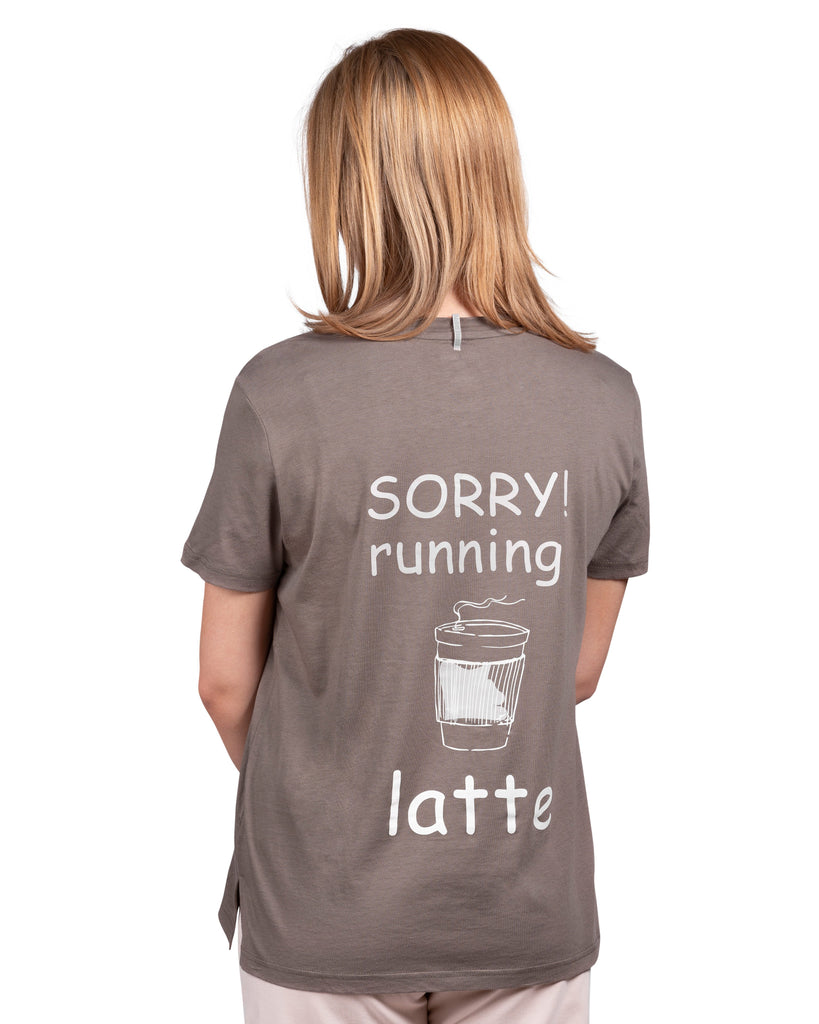 Current Mood Boyfriend T-Shirt - Sorry! running latte