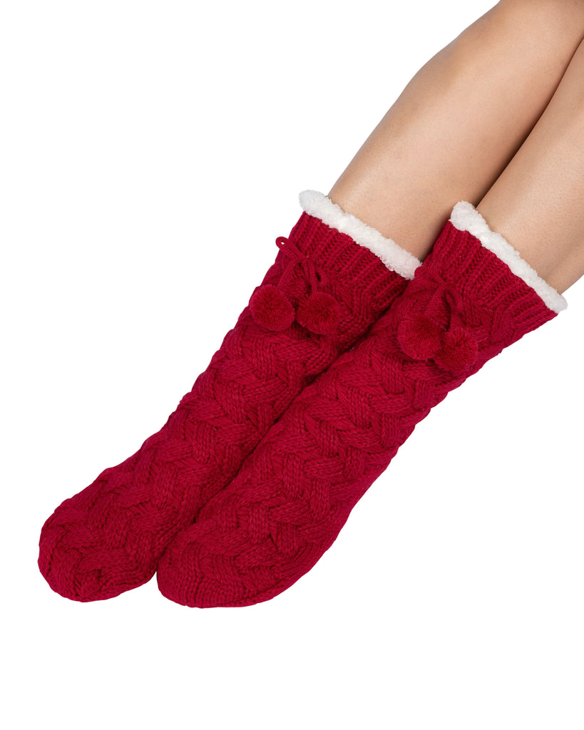 Textured Basket Weave Lounge Socks - Deep Red