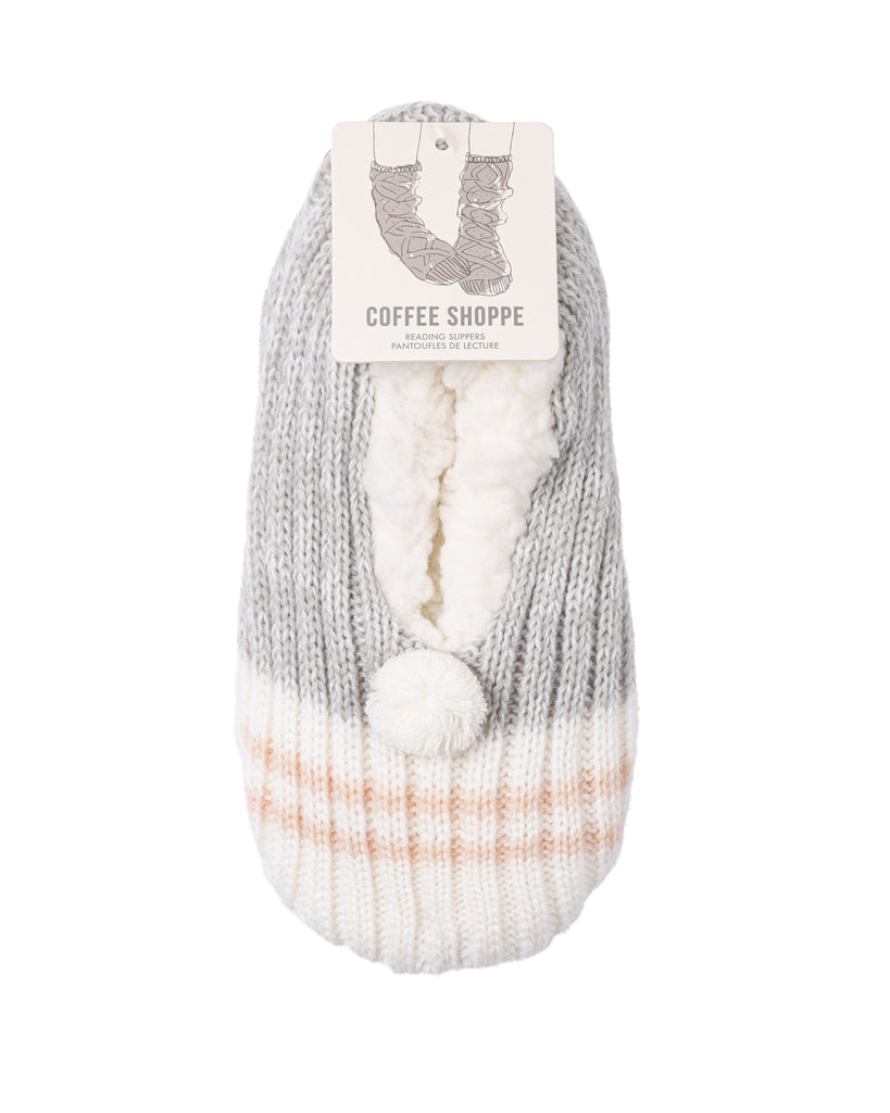 Canadiana Plush Pom-Pom Slippers - Soft Grey