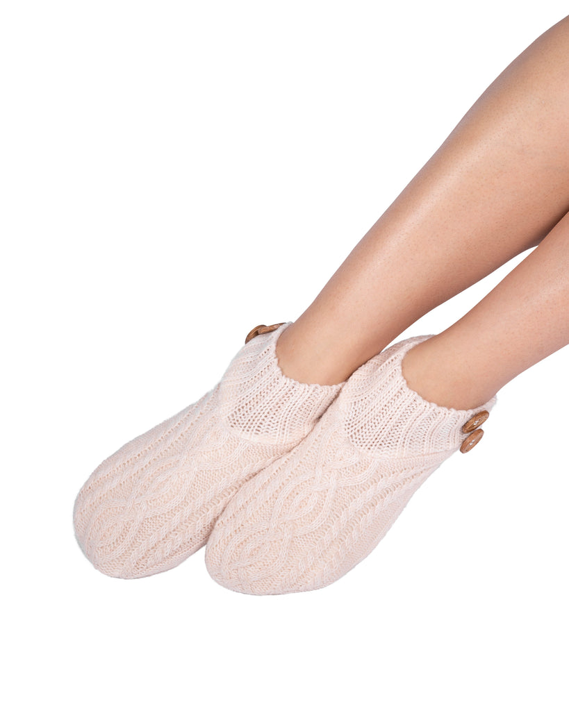 Melange Cable/Rib Knit Booties - Millennial Pink