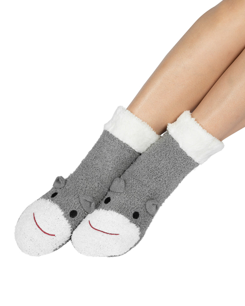 Marshmallow Critter Sock - Sock Monkey (Wild Dove)