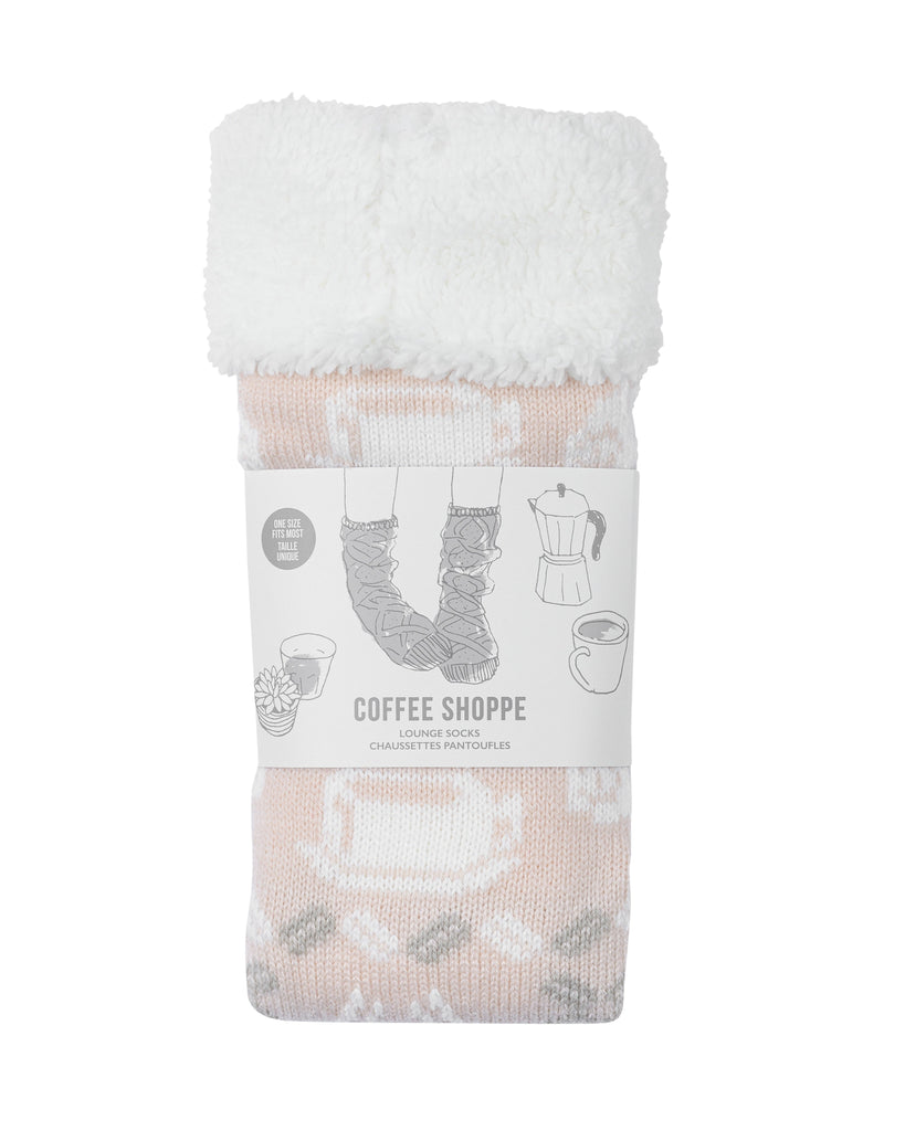 Coffee Cup Lounge Socks - Millennial Pink