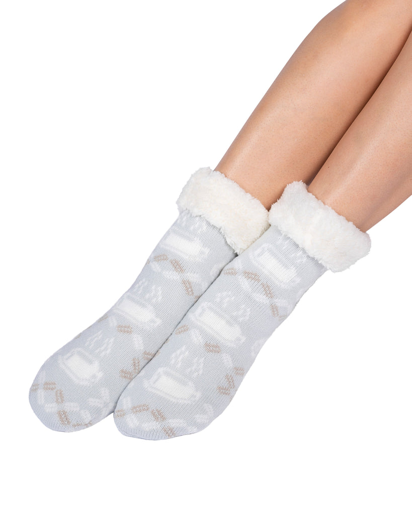 Coffee Cup Lounge Socks - Illusion Blue