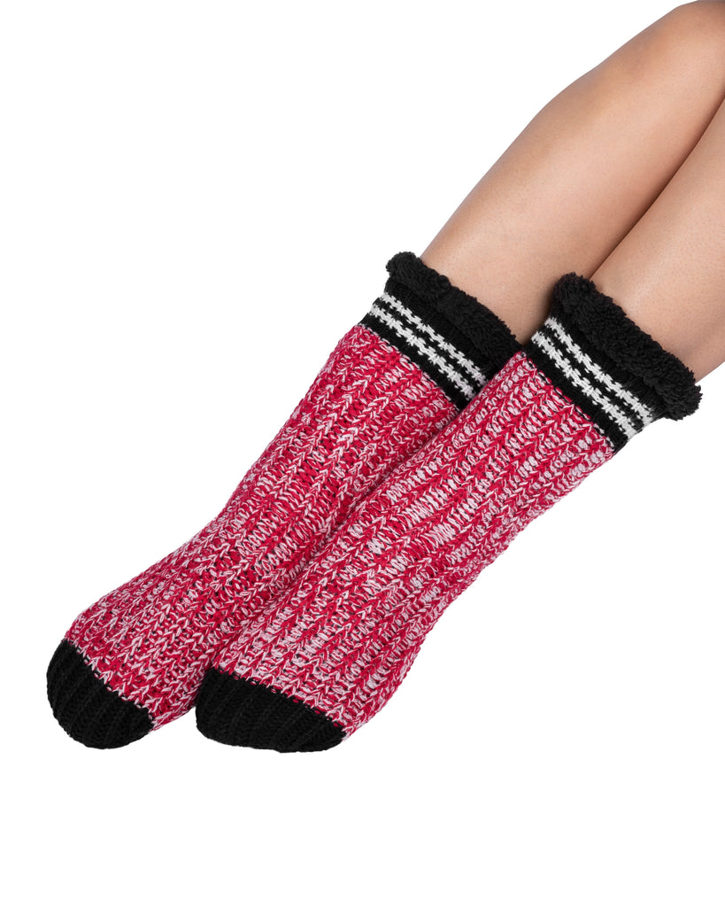 Canadiana Lounge Socks - Deep Red