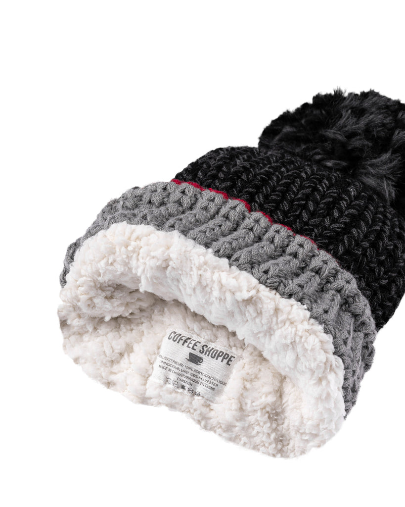 Canadiana Plush Beanie Hat with Pom Pom - Dark Smoked Pearl