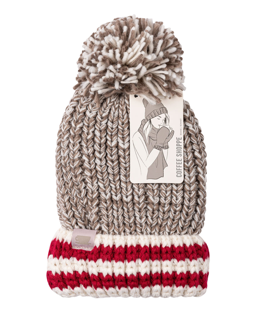 Canadiana Plush Beanie Hat with Pom Pom - Fungi
