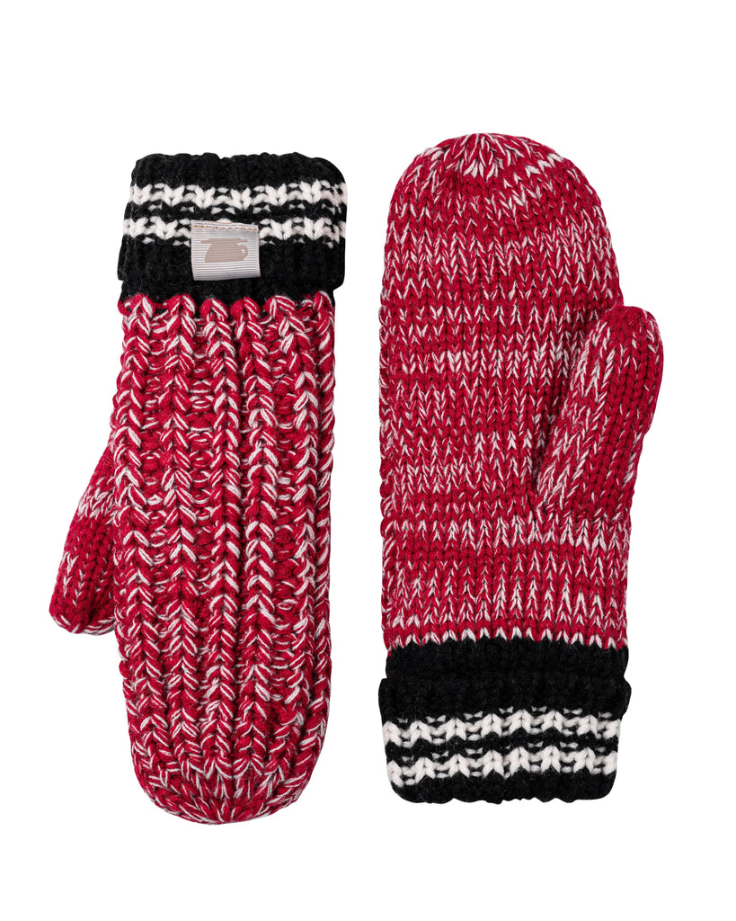 Canadiana Plush Mittens - Deep Red